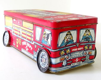 Vintage Fire Truck Tin for Storage
