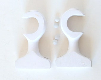 Vintage 1990's White Wood 1.25 Inch Rod Supports