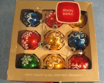 Box of vintage Shiny Brite Christmas bulb ornaments
