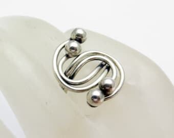 Beau Sterling Orb Ring Vintage Bypass Abstract Jewelry R7207