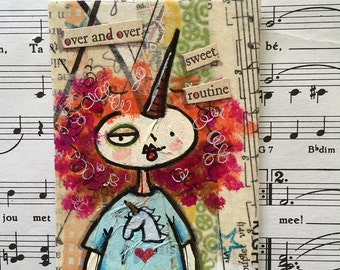 Original mixed media found poetry ACEO / ATC with unicorn