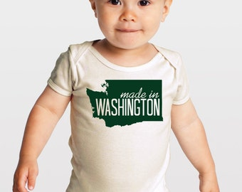 Made in Washington -- Gender Neutral Organic Baby One-Piece