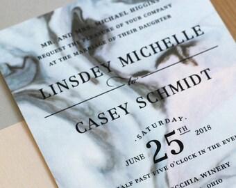 Marble Wedding Invitation, modern wedding invitation, agate wedding invitation, elegant invitation SAMPLE