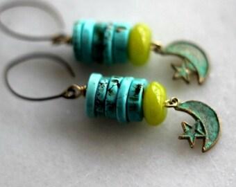 50% Off Turquoise Earrings, Chartreuse Green, Celestial Crescent Moon, Stars, Verdigris Patina, Boho, Bohemian