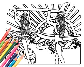 Surfer Girls Coloring Page - Digital Download Beach Art - A Colorful World Suf & Sun by Alexine and Lori Goldwag - Beach Adult Coloring Book