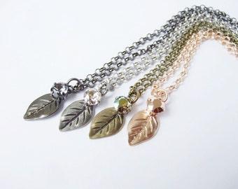 A New Leaf -  Swarovski Crystal Leaf Necklace - Choose your colour