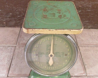 Old green rustic home scale- vintage, solid, functional, beautiful and rustic