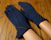 Vintage Navy Dress Gloves, Peek-a-boo Detailing at Wrist, Charmade, Vintage Gloves, Navy Gloves, Dress Gloves, Vintage Fashion, 1950's Style