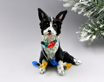 Border Collie Dog Christmas Ornament Figurine Lights OOAK Porcelain
