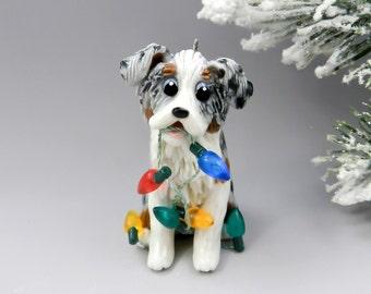 Australian Shepherd Blue Merle TriColor Christmas Ornament Figurine Lights Porcelain