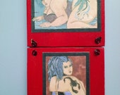 Tattoo Lady double wooden wall plaque art 8x4
