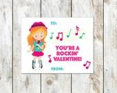 Red Haired Rock Star Valentines - Rockstar Valentine - You're a Rockin Valentine - Class Valentine - Printable Valentine