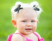 Bebe Doos Perfect Ponies - Baby headband accessory with bows and fake faux pigtails hair PATENTED