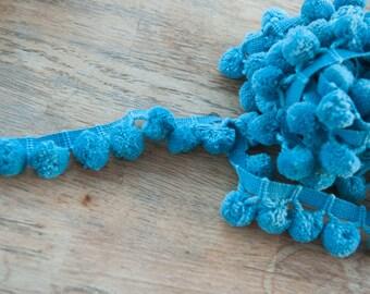 3 yards Blue  -  Mod Vintage Pom Poms Ball Fringe 60s 70s New Old StockTurquoise