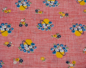 Flower Baskets- Vintage Fabric Fun New Old Stock Novelty Red