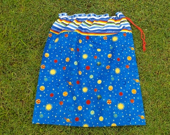Drawstring library bag, planets & stars, large blue cotton bag