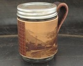 Train railway locomotive leather mason jar sleeve