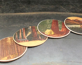 Tree hugger leather coaster set