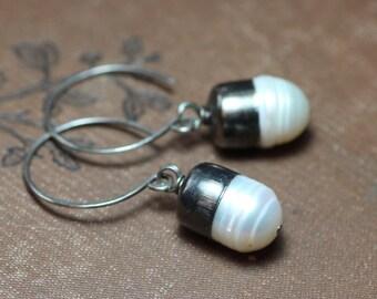 White Pearl Earrings Bullet Capped Silver Earrings Rustic Jewelry Pearl Hoops