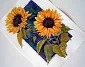 Sunflower Gold Original Watercolor Art by AllKindsofArt artist Glenda Mullins