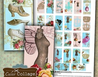 Shabby Royalty Digital Collage Sheet 1x2 Domino Images for Pendants, Magnets, Printable Paper, Decoupage, Craft Sheet, DIY Jewelry Supplies