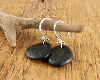 Beach stone earrings, black stone earrings, handmade sterling silver earwires, 1.25 inches long, ready to ship.