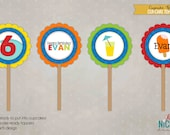 Summer Pool Party Cupcake Toppers, Water Birthday Party Decorations, Popsicle, Wave, Drink Parasol - Boy Colors #B114-B
