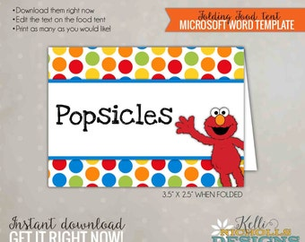 Elmo Food Tent, Sesame Street Party Decoration, Printable Food Label Template, Digital Instant Download #B103-B