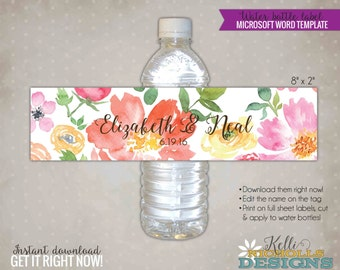 Custom Watercolor Floral Wedding Water Bottle Labels, DIY Custom Stickers, Floral Wedding Decorations, Instant Download #S111