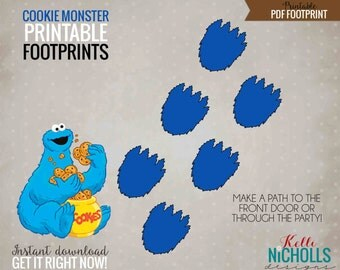 Cookie Monster Footprint, Printable Children's Sesame Street Birthday Party Decorations, Instant Download