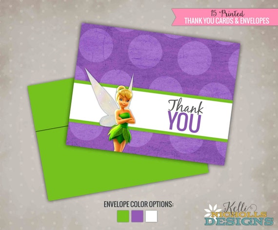Tinkerbell Girl's Birthday Party Thank You Cards, Thank You Notes #B133