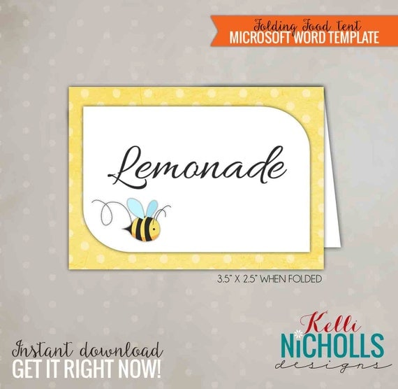 Bumble Bee Party Food Tent, Beehive Party Decoration, DIY Printable Template, Instant Download #S104