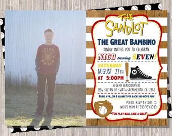 Sandlot Birthday Invitation, Sandlot Invite with photo, The Sandlot movie Birthday, 5x7 JPG PDF