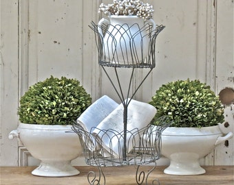 Vintage Lovely French Two Tiered Wire Basket