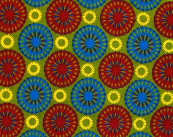 African Fabric 1/2 Yard Cotton BLUE RED GREEN Yellow Abstract Circles