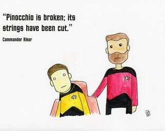 Data and Riker - illustration inspired by Star Trek TNG - part of the Star Trek 366