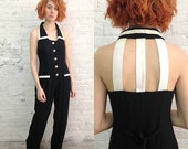 Valentine SALE vintage 80s wide legged minimal black jumpsuit with cutout cage detail / black and white minimalist