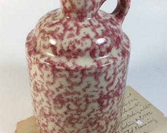 Vintage Henn pottery rose spongeware jug lotion dispenser Roseville