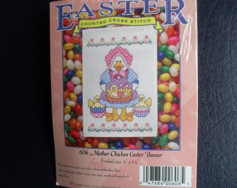Easter Counted Cross Stitch Kit New Easter Chicken Banner