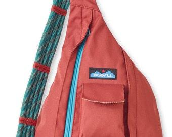 Monogrammed Kavu Rope Bags - Brick - Great gift for College, Teens, Women, Outdoors Satchel Crossbody Tote