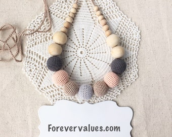 Nursing necklace - Teething necklace - Gray - boho necklace - teething toy - Baby shower gift - natural - earth colors - peach - teether