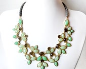 Necklace - Leafy Bib Necklace in Gold - Green and Gray Statement Necklace - Unique Leaves Necklace -