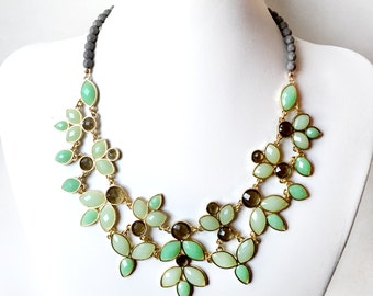 Leafy Bib Necklace in Gold - Green and Gray Statement Necklace - Unique Leaves Necklace -