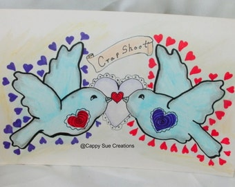Love birds bluebird tattoo style art crapshoot original fine art
