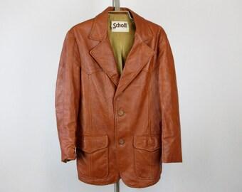 Vintage Mens Western Suit Jacket, Leather, Sz 40 L