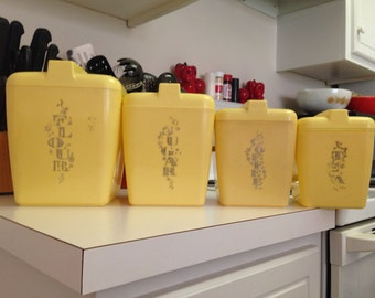 Kitchen Canister Set Yellow Plastic