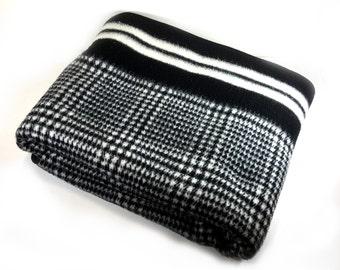 Vintage Biederlack Velour Blanket, Black and White Tweed, Pre-1991, Made in West Germany, Zipper, Snaps