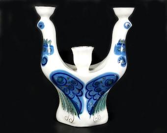 Vintage Russian Porcelain, Double Cobalt Blue Birds Candlestick Holders