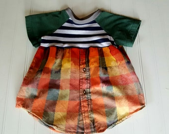 Little Girls size 2T  Dress Upcycled Distressed Plaid