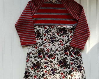 Size 4T Upcycled T Shirt dress. Flowers and Stripes